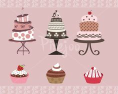 Cute Printable Cakes and Cupcakes ClipartWedding Cake by Pixejoo, $5.00