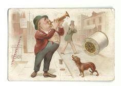 1890 Trade Card & Calendar J & P Coats Best Six Cord Thread Man Playing Trumpet in Collectibles, Advertising, Merchandise & Memorabilia, Victorian Trade Cards, Other Victorian Trade Cards | eBay
