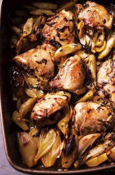 Roasted Chicken with Artichokes, Shallots, Garlic, Lemon, & Saffron