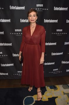 Kristin Scott Thomas Midi Dress - Kristin Scott Thomas kept it simple yet elegant at the Entertainment Weekly Must-List party in a wine-red Dior dress with a crossover bodice and a pleated skirt.