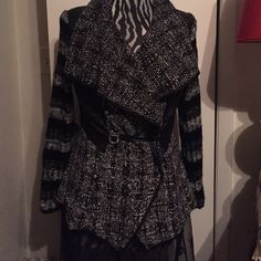 NWT- Sweater Jacket Black and white tweed sweater jacket.Gemstone /loop closer.  Sizes S-L 4 pieces available Sweaters Cardigans