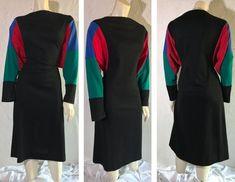 Vintage HHR Dolman Sleeve Midi Dress / Black Red Blue Green Primary Color Block Design / Retro Batwing Sleeve Dress / 80s Mod Style Dress Mod Fashion, Party Fashion, Womens Fashion, Vintage Clothing, Vintage Dresses, Vintage Outfits, Midi Dress With Sleeves, Black Midi Dress, Semi Formal Dresses
