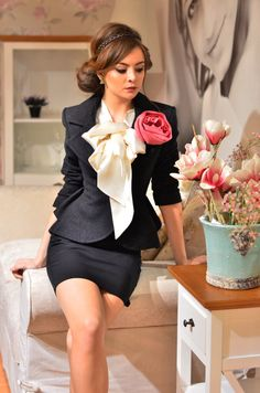 Black suit with white bow top