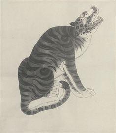 Korean vintage painting of tiger, ca 1880-1960. Natl Anthropological Archives SIRIS