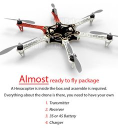 Aerial Filming Frames DJI Flamewheel F550 Combo 2 V2.0 (NAZA V2 + Legs) - HeliPal