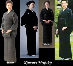 Mofuku is formal mourning dress for men or women. Both men and women wear kimono of plain black silk with five kamon over white undergarments and white tabi. For women, the obi and all accessories are also black. Men wear a subdued obi and black and white or black and gray striped hakama with black or white zori.        The completely black mourning ensemble is usually reserved for family and others who are close to the deceased.
