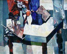 Rudolf Bér [Hungarian, 1924-2004]  Still Life in Blue, oil on canvas 31½ x 39¼ in. #art #artists #painters #paintings #modernism #modernart #modernpaintings #oilpaintings #blue #stilllife