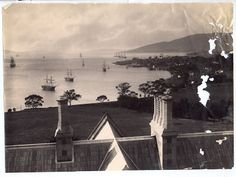 Thomas J. Nevin | Tasmanian Photographer: The Governor's Levee 1855: Captain Goldsmith and son Edward - view of the Derwent from Government House. c 1855