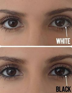 White eyeliner on the bottom lid makes the eye look bigger