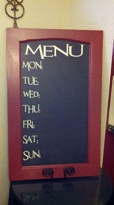 Menu Board-this would be pretty with burlap and glass to make it wipe off instead of chalk also.