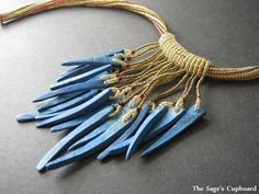 Bast the Lioness Necklace. Blue Dagger Fringe Beaded Rope Necklace in