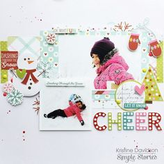 Layout from creative team member Kristine Davidson with the Mistletoe Kisses collection