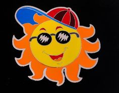 Colorful Hot Yellow Summer Sun Hat Glasses Cool Belt Buckle Cool Belt Buckles, Sun Belt, Happy Sun, Funny Character, Summer Sun, Sun Hats, Pikachu, Colorful, Glasses