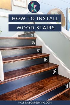 Have you ever wondered how to install wood stairs yourself? We did it and couldn't believe how easy this makeover was! Goodbye old carpet, hello gorgeous wood staircase. Get the full tutorial here at Kaleidoscope Living