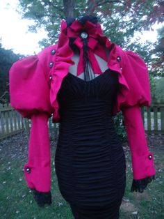 Effie Trinket  Hunger Games Costume Steampunk Victorian puff sleeve bolero vintage hot pink silk moire and choker SALE in District 12 today!...