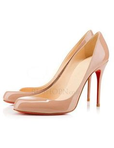Beautiful Apricot Pointed Toe Patent Woman's Red Bottom Pumps