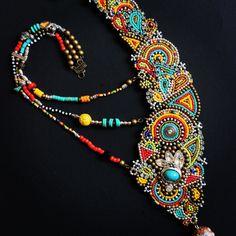 Asymmetrical Beadwork Necklace. Statement Necklace. Tribal Necklace. Boho Necklace by perlinibella.