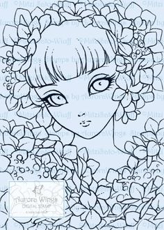 Digital Stamp Hydrangea Sprite Big Eye Doll Face Girl | Etsy