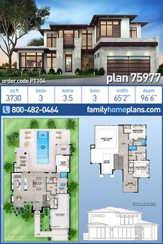 Contemporary, Florida, Modern House Plan 75977 with 3 Beds, 4 Baths, 3 Car Garage. This is THE house; with a few tweaks! Modern House Floor Plans, Sims House Plans, Family House Plans, Contemporary House Plans, Dream House Plans, Contemporary Style, Sims 4 Modern House, Modern Bungalow House Design, Big Modern Houses