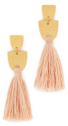 Madewell Tassel Earrings gold and pink summer fun