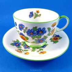 Blue and Yellow Floral with Green Trim Aynsley Tea Cup and Saucer
