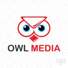 Playful logo featuring an owl's head that has a play sign at the top of the head presenting media. Colors are red, blue and black. Related keyword: media, owl.
