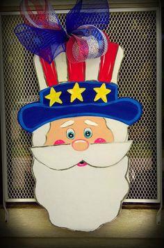 SALE Uncle Sam Door Hanger Fourth of July Door by ArtByAudet Canvas Door Hanger, Cross Door Hangers, Burlap Door Hangers, Felt Christmas Decorations, Patriotic Decorations, Patriotic Crafts, July Crafts, Bowling Pin Crafts, Bowling Pins