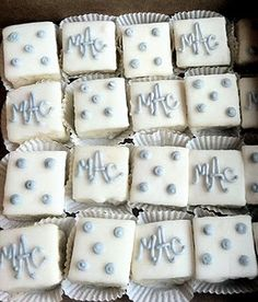 i love the idea of petit fours with a monogram these are for a wedding but would be super cute with babys monogram