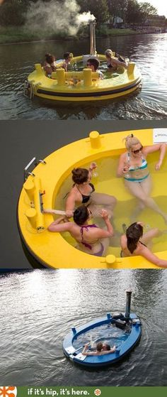 The HotTug. A Motorized Floating Wood-Fired Hot Tub! Who's up for a trip doen the River Aire in this?