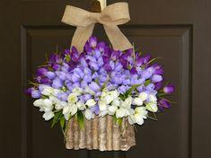 spring tulips wreath, purple lavender wreaths, Easter wreaths, birch bark vases, front door wreath, decorations, spring wreath