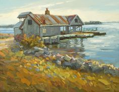 """Gallery One in Ocean View, Delaware announces three spring classes with artists Nick Serratore, Rosemary Connelly and Kirk McBride. Click """"Morning at the Landing,"""" oil by Kirk McBride painting to read entire art workshop article: Gallery One to host spring workshops starting April 13"""