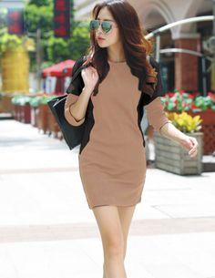 Đầm thun tay dài nâu phối đen - A6625 - Chất liệu : cotton dày - Màu sắc: như hình - Kích thước: S/M/L/XL