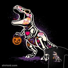 Calaverasaurus Rex | Shirtoid #calavera #dinosaur #halloween #nemimakeit #noemifadda #skeleton #trex #tyrannosaurus #tyrannosaurusrex