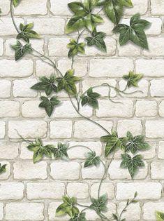 Ivy Brick Effect Wallpaper Stone Slate Textured Embossed White Green Modern  | eBay