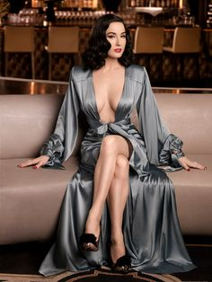 Dita wearing a divine Silk Robe/Dressing Gown, the color is amazing