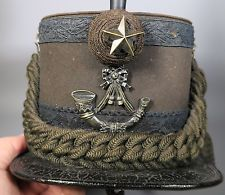 RARE MILITARY SHAKO HAT 4TH SCOTTISH RIFLES C.1887 + TIN CAPTAIN CHAVASSE
