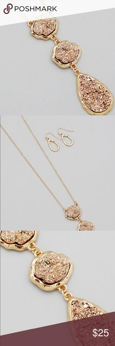 Triple Rose gold faux Druzy long gold necklace New! Bundle and save 15%. No trades. Long 30 inch plus 3 inch gold tone necklace with 3 faux Druzy rose gold pendants & dangle Earrings Jewelry Necklaces