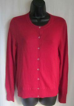 BANANA REPUBLIC Women's Red Cotton Blend Acrylic Button Cardigan Sweater S Small #BananaRepublic #Cardigan
