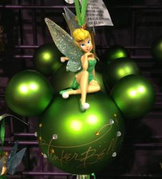 Disney Park Tinkerbell on Green Mickey Mouse Ears Ornament New | eBay $22