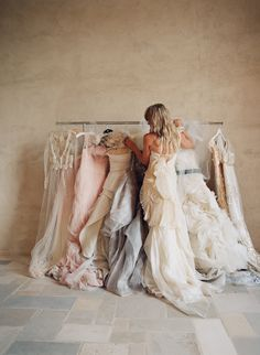 Gorgeous pink, cream, and gray gowns