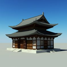 Japanese Temple - Tofukuji Hondo Model available on Turbo Squid, the world's leading provider of digital models for visualization, films, television, and games. Japanese Buildings, Japanese Architecture, Mud Hut, Japanese Temple, Roof Structure, Construction, Mansions, Tokyo, House Styles