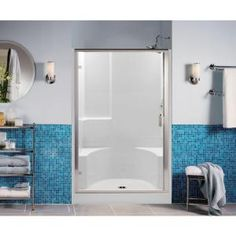aquatic remodeline 48 in x 34 in x 72 in gelcoat sectional 2piece 2seated shower stall in white
