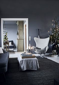 Modern living room with minimalistic Christmas Interior Design.                                                                                                                                                                                 More