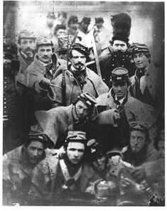 Richmond Grays on guard at John Brown's hanging at Harper's Ferry, VA, 1859.  John Wilkes Booth is the man holding the knife left of center.