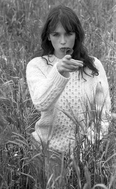 Isabelle Adjani in aran sweater