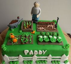 Check out the vegetable garden Cake i made. Allotment Cake, Vegetable Garden Cake, 90th Birthday Decorations, Cake Decorations, Flower Pot Cake, Peter Rabbit Cake, 80 Birthday Cake, Dad Cake, Puppy Cake