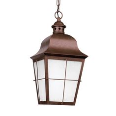 Sea Gull Chatham 1 Light Weathered Copper Outdoor Fixture (One Light Outdoor Pendant), Brown (Glass)
