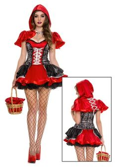Womens Sexy Fiery Lil Red Costume - Little Red Riding Hood for Halloween