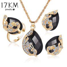 17 KM Sieraden Sets 5 Kleur Crystal Pauw Sieraden Sets Bruid Bruiloft Ketting Oorbellen Oorbellen Ring Set parure bijoux femme
