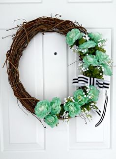 Minty Spring Grapevine Wreath